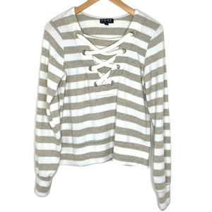 Poof Striped Fuzzy Lace Up Pullover Sweater Small